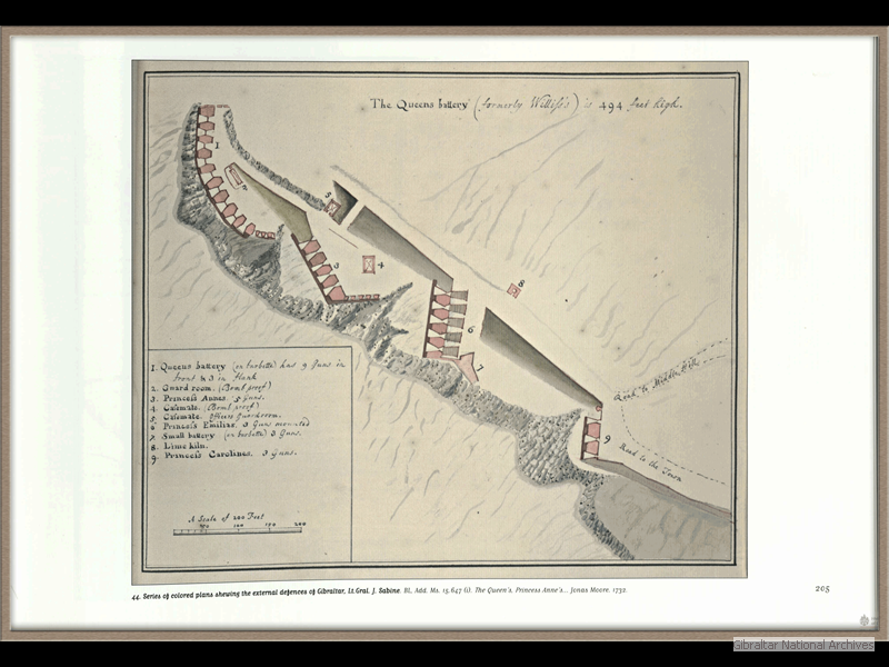 1732-Series-of-coloured-plans-shewing-the-external-defences-of-Gibraltar_Jonas-Moore