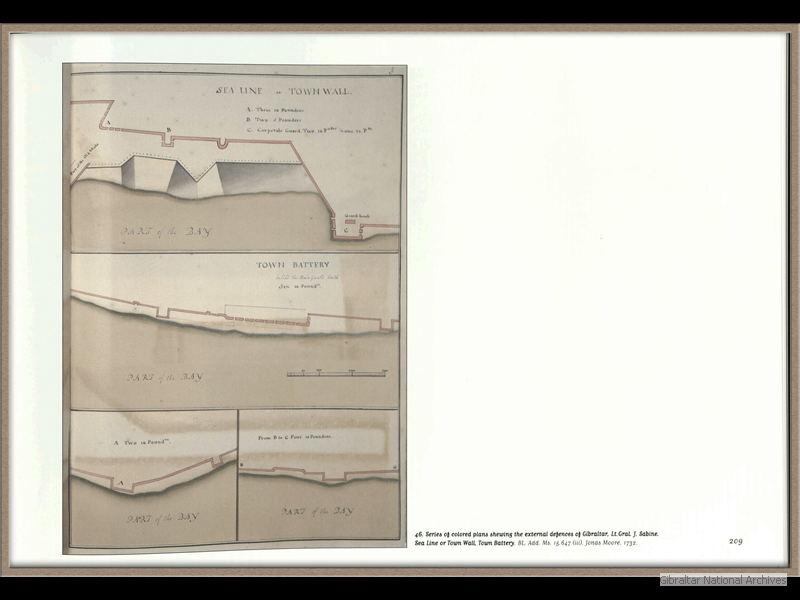 1732-Series-of-coloured-plans-shewing-the-external-defences-of-Gibraltar_Lt-Gral-J-Sabine_Sea-Linje-or-Town-Wal-Town-Battery