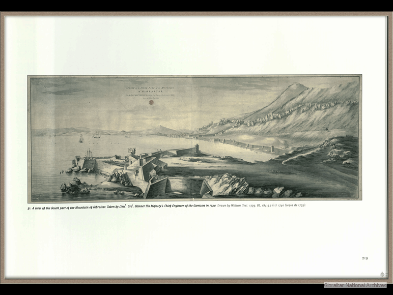 1740-A-view-of-the-South-part-of-the-mountain-of-Gibraltar-taken-by-Lieu-Gra-Skinner-HM-Chief-Engineer-of-the-Garrison